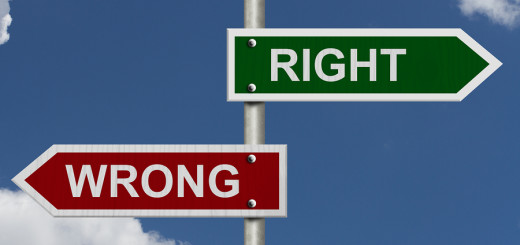 Red and green street signs with blue sky with words Right and Wrong Right versus Wrong